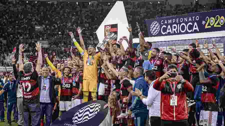 Jogadores do Flamengo celebram conquista da Taça Guanabara, primeiro turno do Carioca, de 2020 - Alexandre Vidal, Marcelo Cortes & Paula Reis / Flamengo