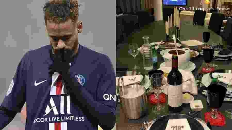 """Neymar posta foto da janta no Carnaval: """"Relaxando em casa"""" - Reprodução/Instagram"""