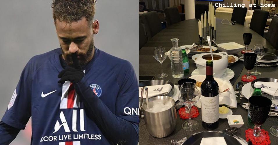 Neymar posta foto da janta no Carnaval: 'Relaxando em casa'