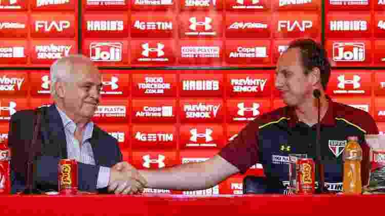Ceni é apresentado pelo presidente Leco como novo técnico do São Paulo - Marcello Zambrana/AGIF - Marcello Zambrana/AGIF