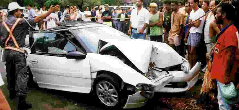 Dener morreu em 19 de abril de 1994, quando seu Mitsubishi Eclipse GS 1992 bateu em uma árvore na Lagoa Rodrigo de Freitas, no Rio; carro está guardado até hoje - Reprodução