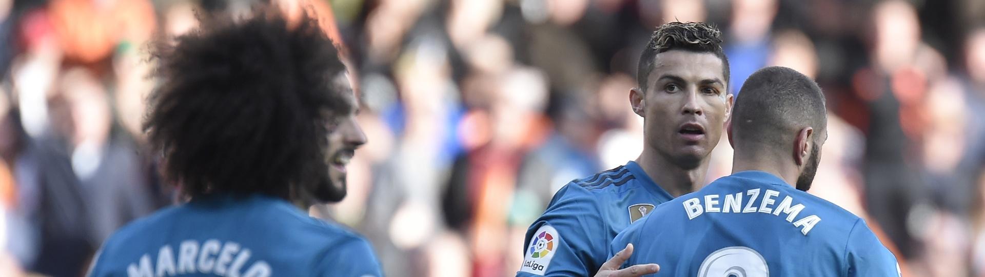 Cristiano Ronaldo fez duas vezes no primeiro tempo contra o Valencia