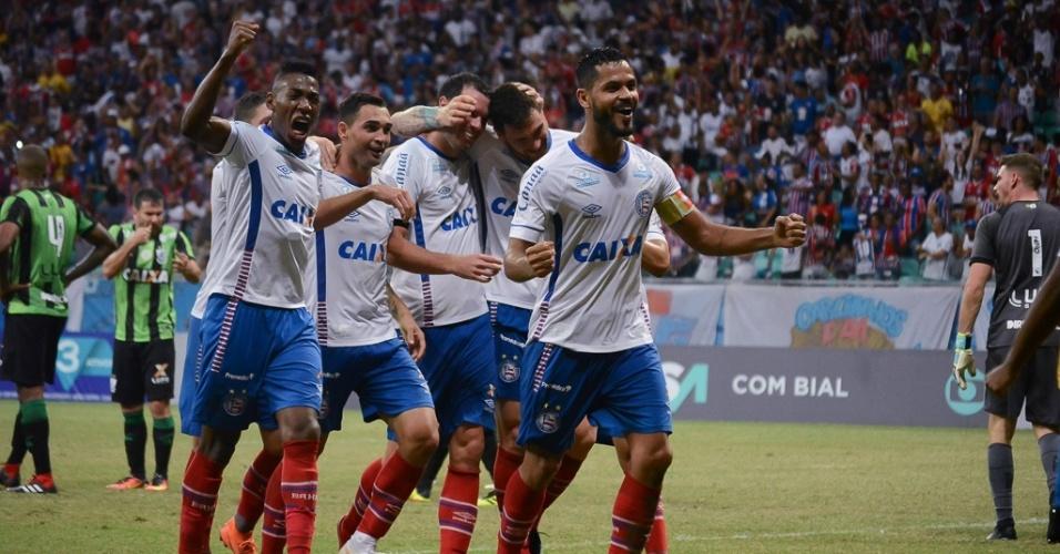 Jogadores do Bahia comemoram gol contra o América-MG no Brasileirão