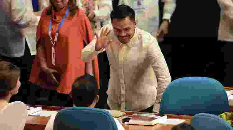 Manny Pacquiao, no Senado filipino - Xinhua/Rouelle Umali - Xinhua/Rouelle Umali