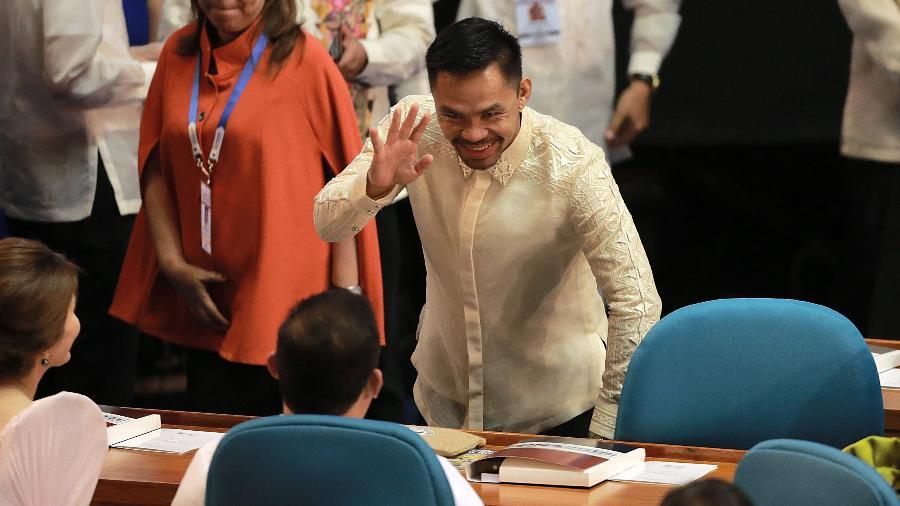 Manny Pacquiao no Senado filipino - Xinhua/Rouelle Umali