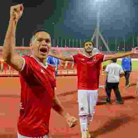 Marcos Guilherme comemora vitória do Al Wehda. Jogador é alvo do Inter no mercado da bola - Divulgação/Al Wehda