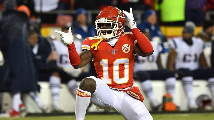 Tyreek Hill, jogador do Kansas City Chiefs na NFL - Peter Aiken/Getty Images North America/AFP