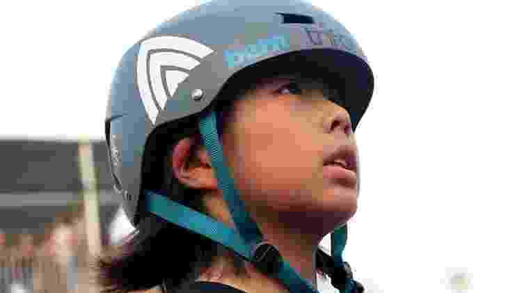 Misugo Okamoto, de 13 anos, foi campeã do Mundial de skate park, em São Paulo - Paulo Anshowinhas/UOL