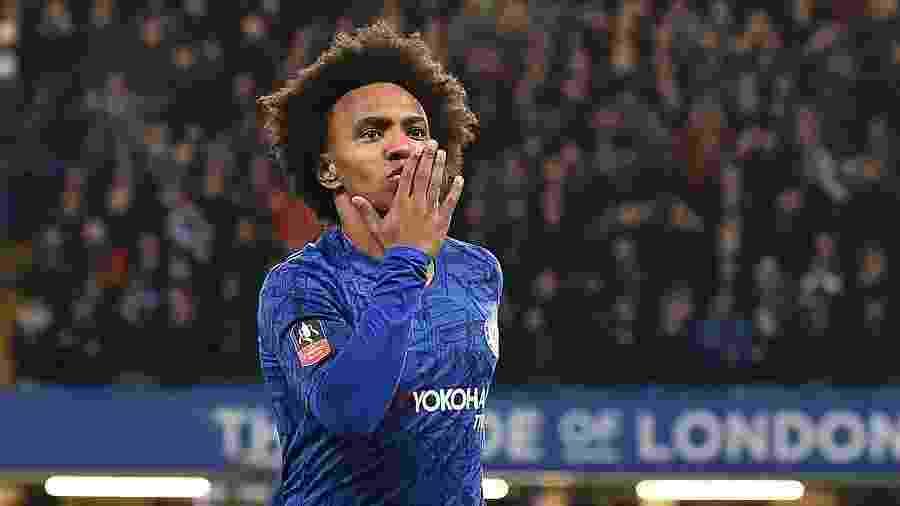 William comemora gol pelo Chelsea contra o Liverpool nas oitavas de final da Copa da Inglaterra - Glyn KIRK / AFP
