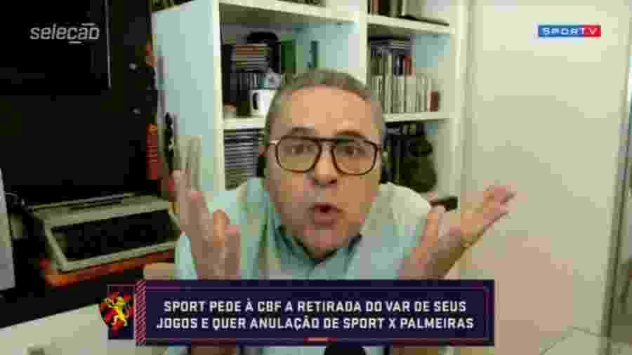 Luís Roberto reclama de demora do VAR em vitória do Palmeiras sobre o Sport - Reprodução/SporTV