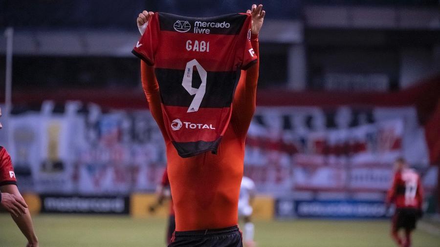 Atacante do Flamengo, Gabigol comemora gol sobre a LDU, pela Libertadores - Alexandre Vidal / Flamengo