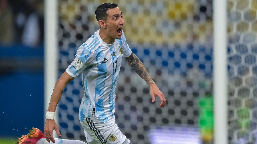 Di María comemora o gol sobre o Brasil na final da Copa América - Thiago Ribeiro/AGIF
