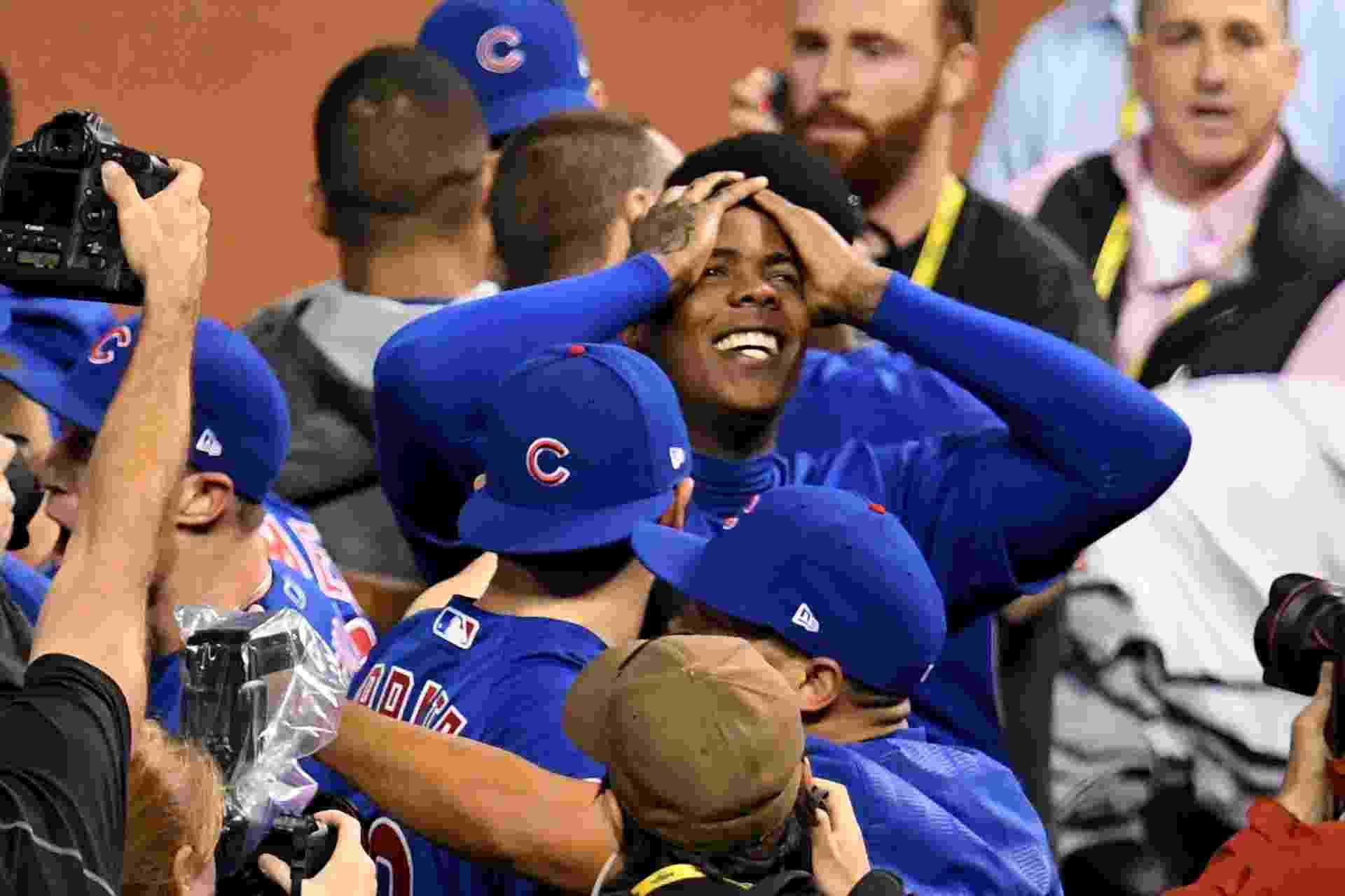 Aroldis Chapman comemora título da MLB do Chicago Cubs - Jason Miller/Getty Images/AFP