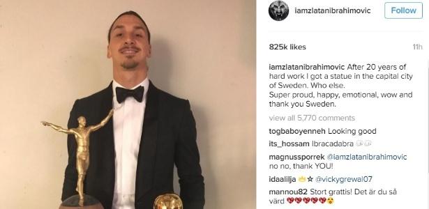 Ibra com o prêmio conquistado - Reprodução/Instagram