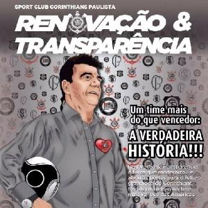 Andrés Sanchez aparece na capa do material de campanha da situação do Corinthians