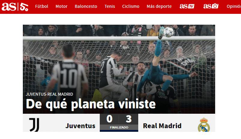 O jornal As, da Espanha, perguntou de que planeta Cristiano Ronaldo vem