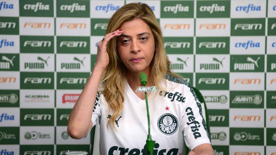 Leila Pereira em entrevista coletiva no Palmeiras - Bruno Ulivieri/Ofotográfico/Folhapress