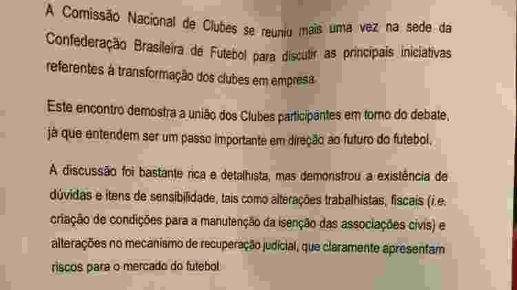 Comissão Nacional de Clubes se reuniu na CBF para discussão de clube-empresa - Leo Burlá / UOL - Leo Burlá / UOL