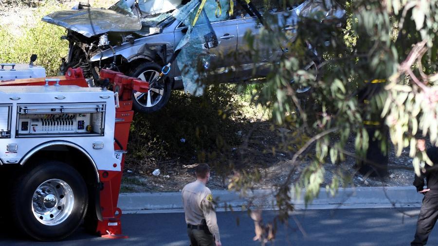 Frete do carro de Tiger Woods ficou destruída após acidente na Califórnia (EUA) - GENE BLEVINS/REUTERS