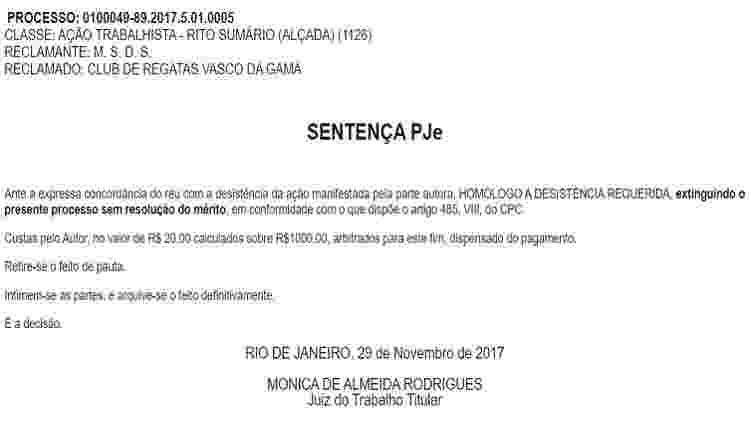 Processo contra o Vasco foi extinto pelos representantes legais de Miguel - Reprodução/TRT - Reprodução/TRT