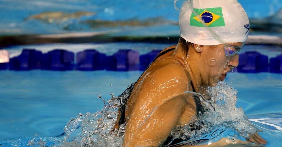 Pamela Souza terminou na quinta colocação da classificatória dos 200m peito