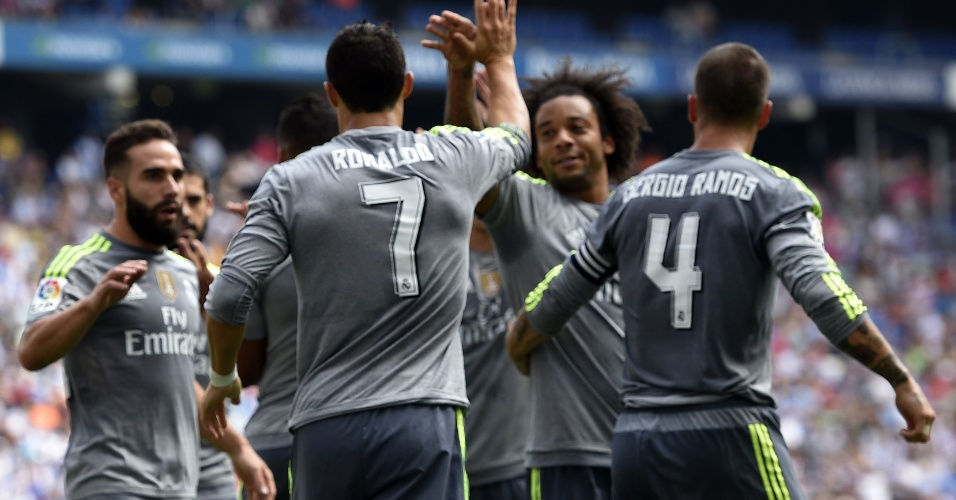 Cristiano Ronaldo comemora gol do Real Madrid em jogo contra o Espanyol pelo Campeonato Espanhol, em Barcelona
