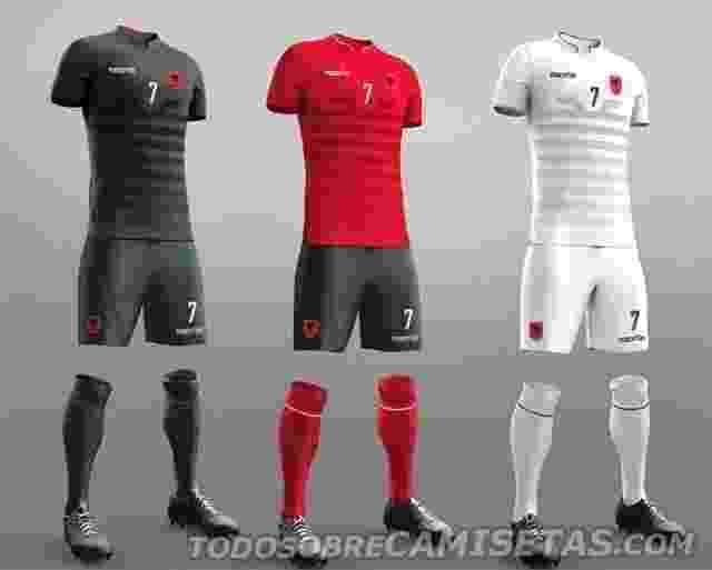 GRUPO A: Albânia (camisas alternate, titular e reserva; Macron) - Todo Sobre Camisetas/Reprodução