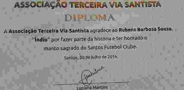 Homenagem de torcedores do Santos ao ex-lateral Índio - Arquivo pessoal - Arquivo pessoal