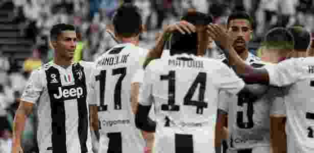 Jogadores da Juventus comemoram gol de Pjanic contra a Lazio - Filippo Monteforte/AFP - Filippo Monteforte/AFP