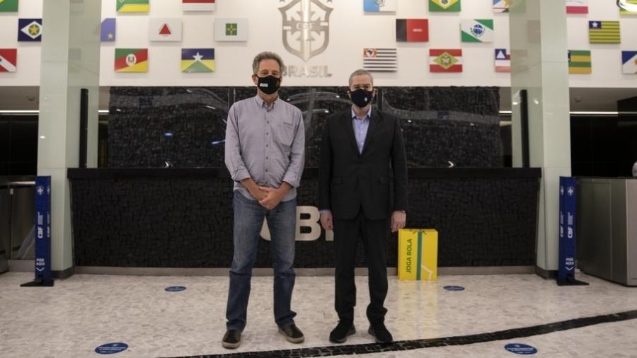 Rodolfo Landim, presidente do Flamengo, e Rogério Caboclo, presidente da CBF - Thais Magalhães/CBF