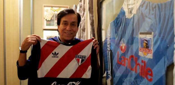 Roberto Rojas com as camisas de São Paulo e Colo-Colo, as equipes que mais defendeu