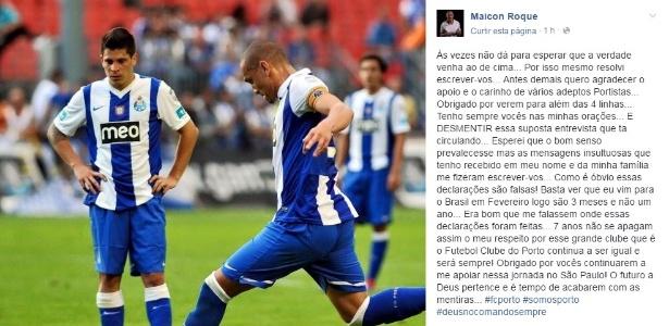 Maicon usou rede social para desmentir suposta entrevista em que critica seu ex-clube