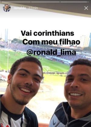 Ronaldo e o filho Ronald acompanham vitória do Corinthians em Campinas