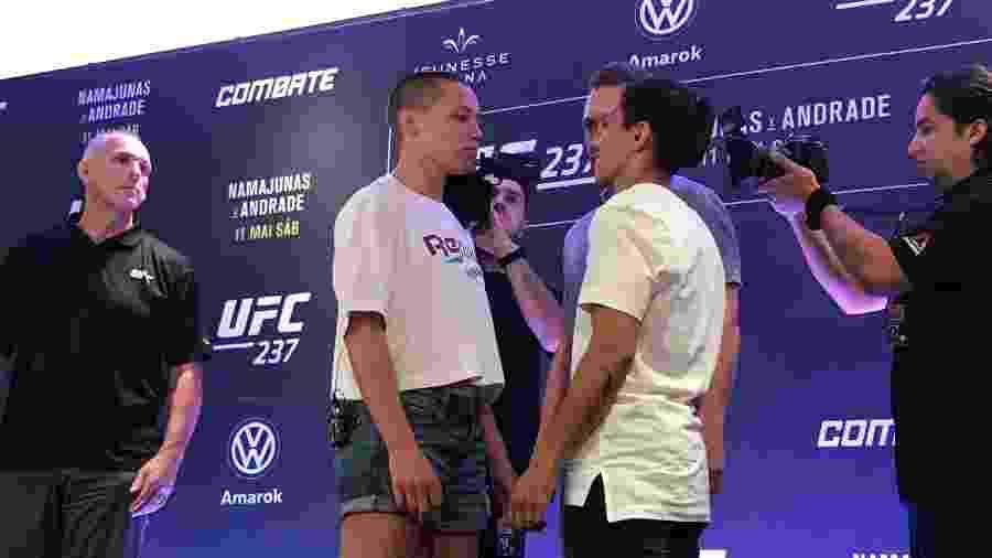 Rose Namajunas e Jéssica Bate-Estaca se encaram antes do UFC 237, no Rio de Janeiro - Bruno Braz / UOL Esporte