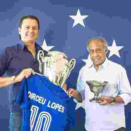 Sérgio Santos Rodrigues, presidente do Cruzeiro, e Dirceu Lopes - Igor Sales/Cruzeiro - Igor Sales/Cruzeiro