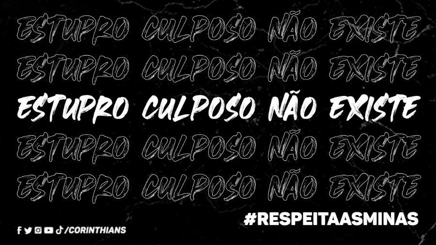 """Corinthians publicou nas redes sociais a frase """"estupro culposo não existe"""" - Reprodução/Twitter"""
