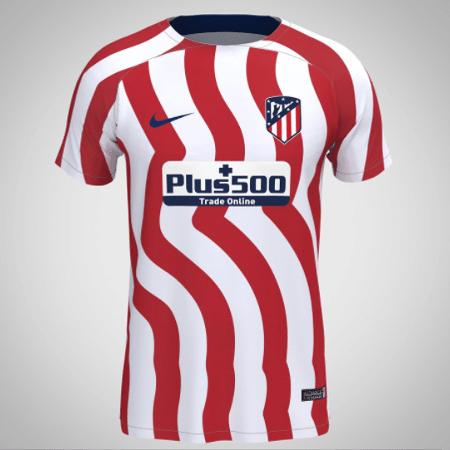 Suposta camisa do Atlético de Madri em 2022-23 terá listras curvas - Reprodução/FootyHeadlines.com