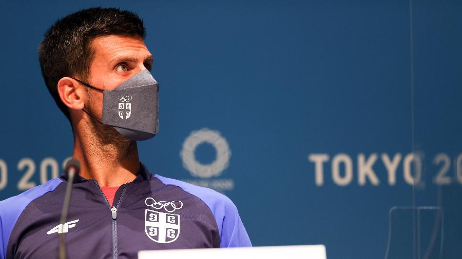 Tenista sérvio  Novak Djokovic em coletiva de imprensa antes dos Jogos de Tóquio -  Amin Mohammad Jamali/Getty Images