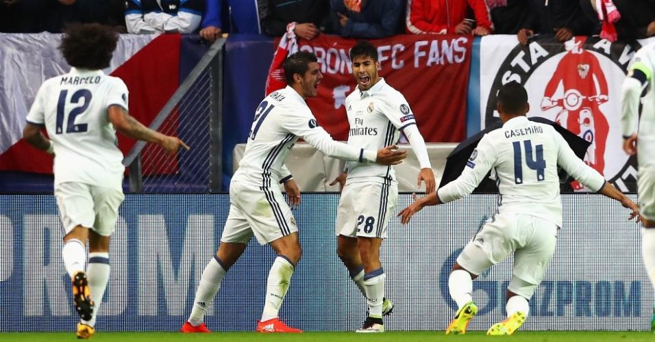 Asensio comemora o golaço que marcou para o Real Madrid contra o Sevilla