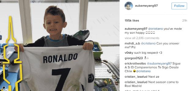 Aubameyang agradece Cristiano Ronaldo por presente ao filho - Reprodução / Instagram