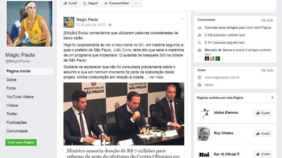 Paula foi ao Facebook dizer que não autorizou o uso de sua imagem em projeto da prefeitura - Reprodução Facebook