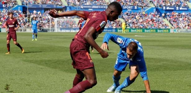 Dembélé em ação pelo Barcelona contra o Getafe, no jogo em que se machucou
