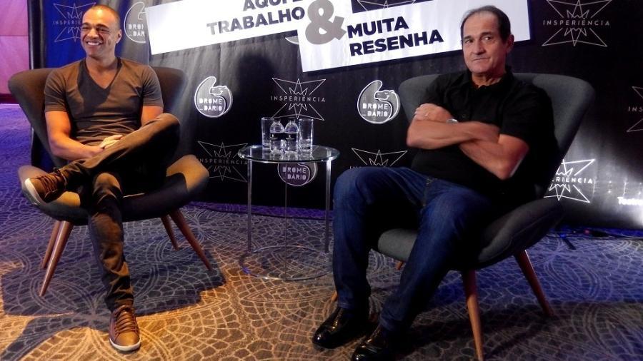 """Denilson e Muricy Ramalho na apresentação de """"Aqui é trabalho & muita resenha"""" - Vanessa Cuba"""