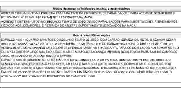 Trecho de súmula do jogo entre River-PI e Parnaíba, pelo Campeonato Piauiense  - Reprodução - Reprodução