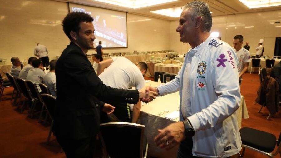 Felipe Anderson foi um dos primeiros na apresentação da seleção brasileira - Lucas Figueiredo/Divulgação/CBF