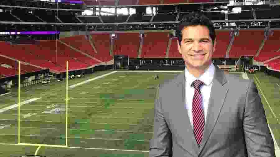 Paulo Antunes durante cobertura do Super Bowl - reprodução/Instagram