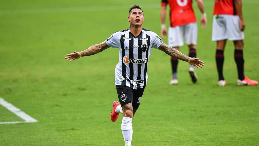 Vargas fez o primeiro gol do Galo contra o Pouso Alegre, no Mineirão, pelo Campeonato Mineiro - Divulgação/Mineirão