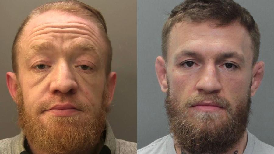 Mark Nye, traficante de drogas e sósia de McGregor; e Conor McGregor, lutador de MMA - Divulgação / Surrey Police / Miami Beach Police