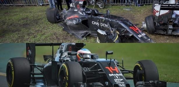 Antes e depois do carro de Fernando Alonso, que capotou feio no GP da Austrália - Arte/UOL Esporte