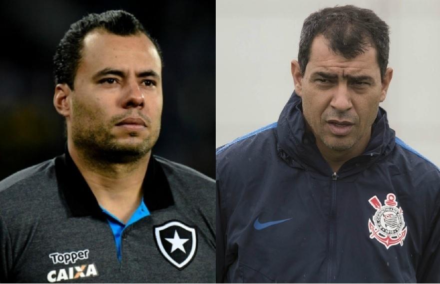 Jair Ventura e Fábio Carille se encontrarão no duelo Botafogo e Corinthians